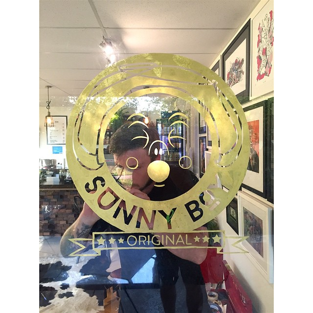 Our beautiful Sunny Boy Original being gold leafed by Twolaks! So amazing!