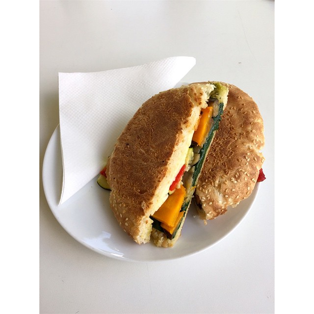 Fresh smoked bacon, aged cheddar omelette and chipotle sauce Turkish, and roasted vegetables, haloumi and pesto Turkish are in. Open til 2.
