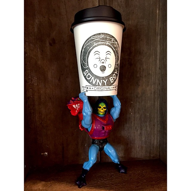 We are grinding our smooth Sunny Boy Original this morning and Dragon Blast Skeletor is happy about it! Open 6-12. Drop by for fresh bacon and omelette breakfast toasties with chipotle sauce. The perfect companion for your coffee.