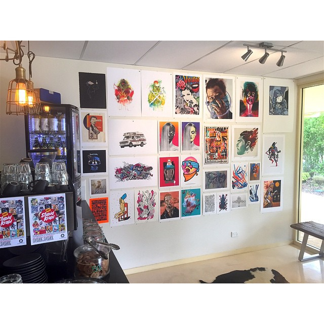 One of two walls hung ready for our Stupid Krap art show tonight. Drop by between 5-8pm for FREE COFFEE and pick up some art just in time for Christmas. The entire Stupid Krap archive will be available. See you tonight!