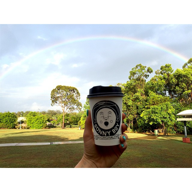 What a beautiful wet morning! We got to enjoy our first coffee of the day under this full rainbow while we set the shop up.     We have Sunny Boy Original in the grinder this morning. We will (fittingly) put 1kg of Double Rainbow through later today. See you soon!
