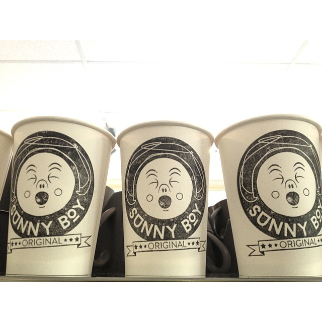 Lining up to be filled with our smooth Sunny Boy Original.     Grinding this all day today. Drop in for your caffeine fix!