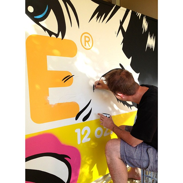 Ben Frost painting in the details. This is going to look amazing! Drop by tomorrow for a Sunny Boy and a gander.