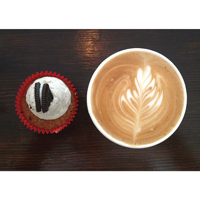 Fresh cookies and cream cupcakes are in this morning. We are also grinding our smooth Sunny Boy Original til 2pm.