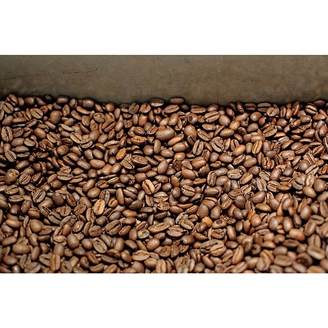 This is what a freshly roasted batch of our smooth Sunny Boy Original looks like!     We have another huge bag coming in tomorrow so expect to see our roaster in full swing all week long.
