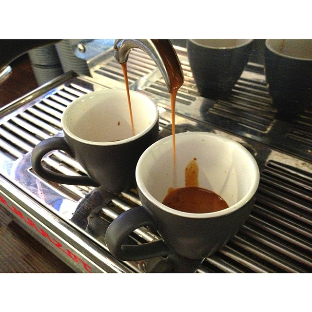 A couple of velvety espresso shots of the specialty blend this morning. There's about 10 coffees worth remaining in the grinder, then we'll switch to our Sunny Boy Original. Medium bodied, vanilla and fruity.