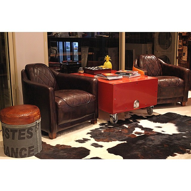 We love our shop, especially our tri-colour cow skin, and our fire hose reel coffee table.