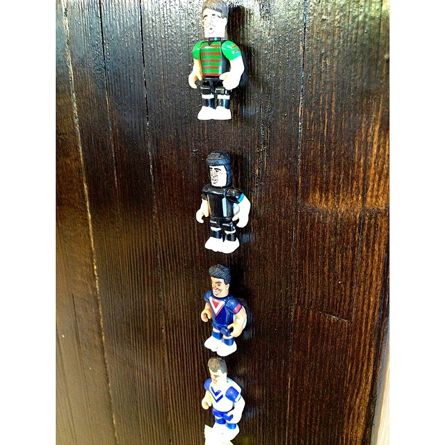 We are making the NRL ladder out of these little NRL Microfigures. We are missing a few key teams/players so if you want to help us get them all they are available from Coles service stations.     If you bring a player in we don't have you'll get a free coffee upgrade!