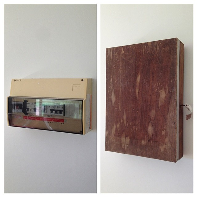 Great way to hide our ugly electrical box on the back wall. Using an old key lock wooden box. We will clean it up and turn it into a feature.
