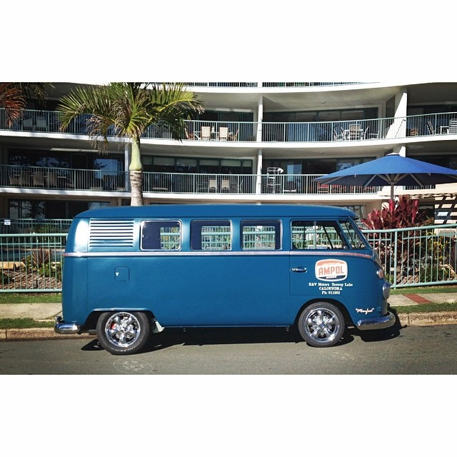 This beast was cruising around Moffat Beach today. #vw #kombi #ampol #moffatbeach