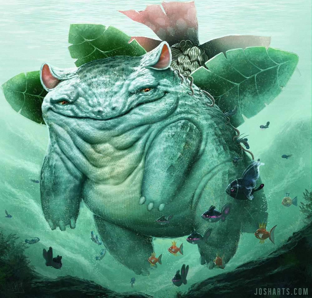 Beautiful drawing of one very content Venusaur by Josh Matamoros.