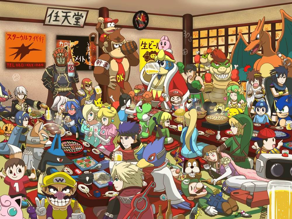 Smash Bros. 3DS drinking  by  Wolf
