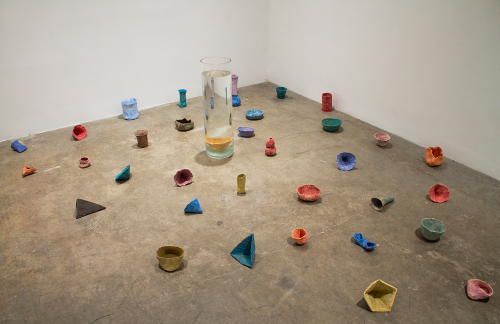 Units of Measurement , 2012, Clay, glass cylinder filled with water, Dimensions vary
