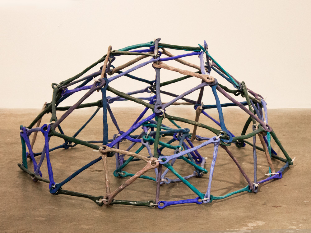 Modular Domes I,  2012, Clay, glaze and plastic, 17 x 38 x 38 in.