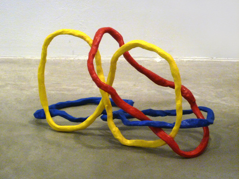 Borromean Ring Variation #2 , 2011, Clay with acrylic, 12 x 12 x 12 in.