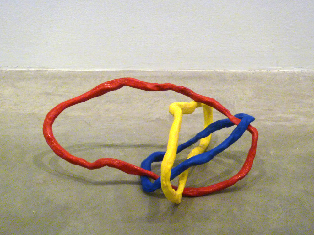 Borromean Ring Variation #3 , 2011, Clay with acrylic, 12 x 12 x 12 in.
