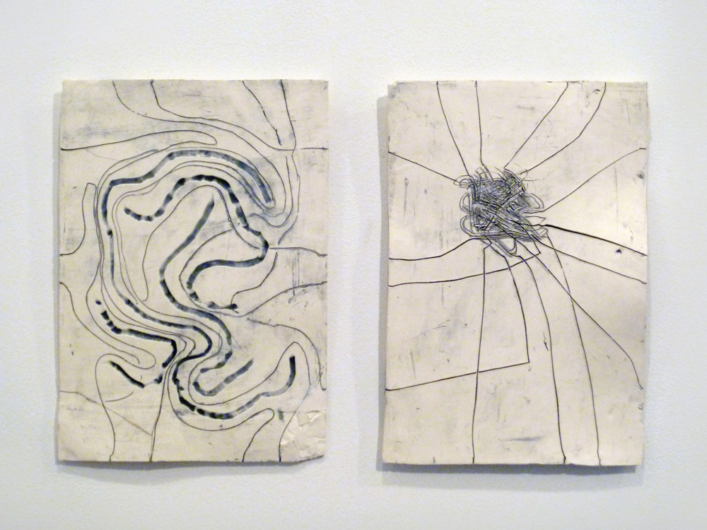 Path Maps #1 , 2011, Clay and glaze, 15 x 23 in.