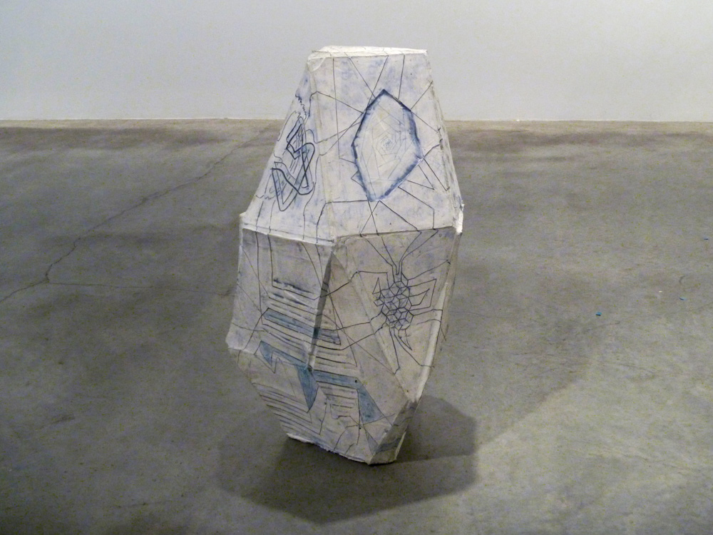 Tetrahedron (Augmented Truncated) , 2011, Clay, glaze and graphite, 39 x 23 x 25 in.