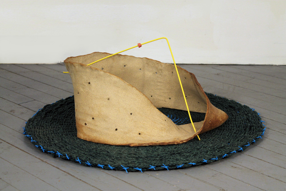 Mobius Strip Abacus #2 , 2012, Clay, metal, plastic and rope, 20 x 32 x 32 in.