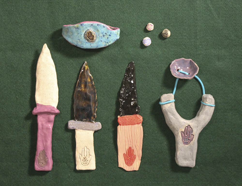 Guy Ben-Ari & Leah Wolff,  The Best Defense is a Good Hamsa , 2012, Clay and glaze