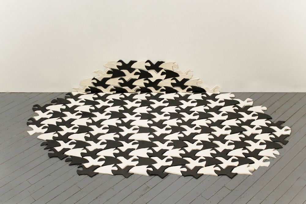 Fish/Bird E34B, 2013, 211 glazed ceramic tiles, 20 x 70 x 60 in.
