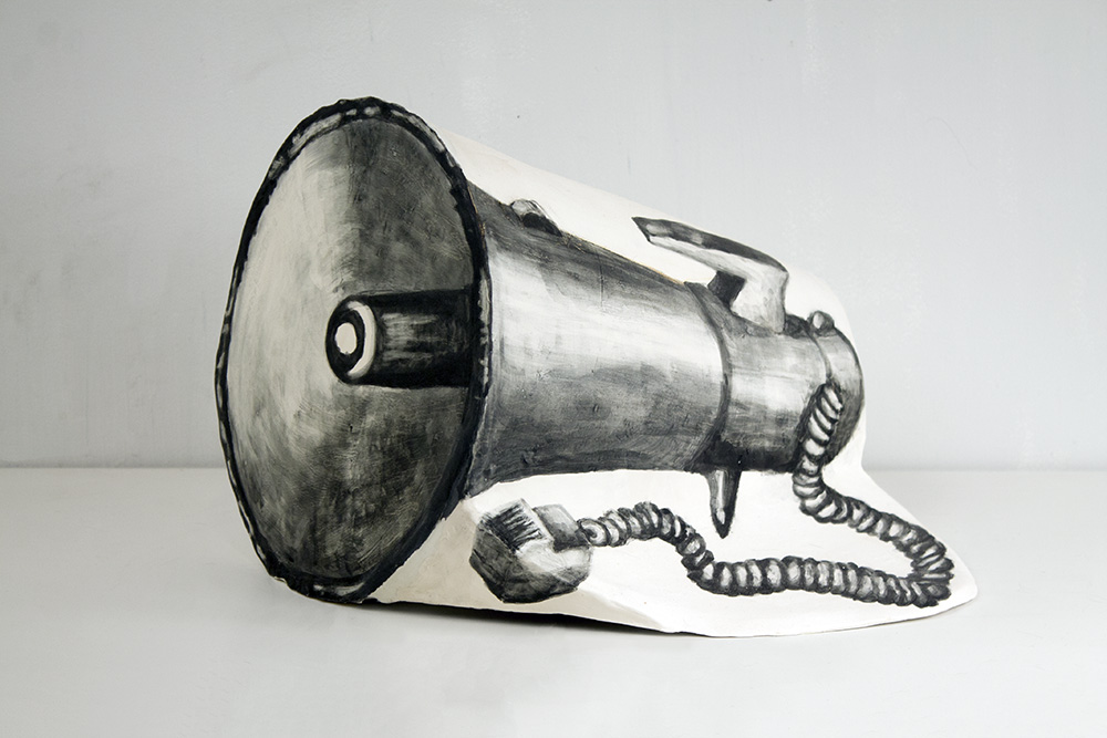 16 Watt Portable Megaphone , Clay and glaze, 12 x 14 x 16 in, 2016