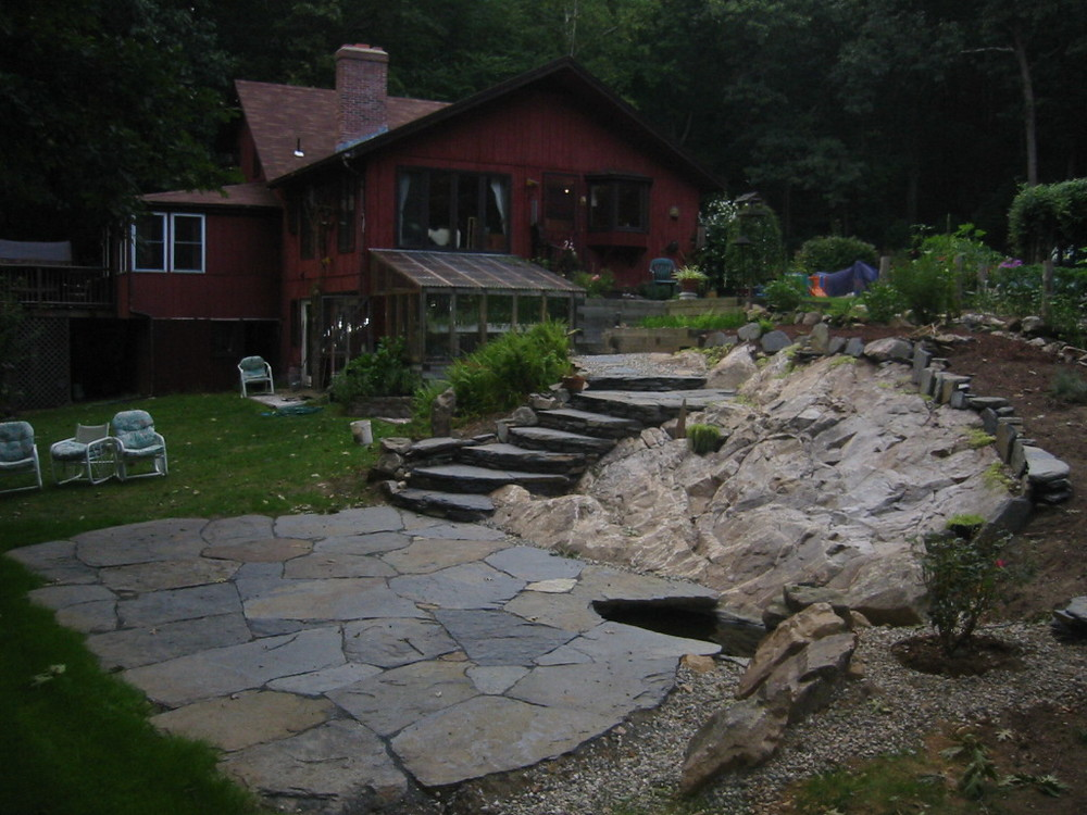 Stonework grass roots landscaping hillside steps and patio workwithnaturefo