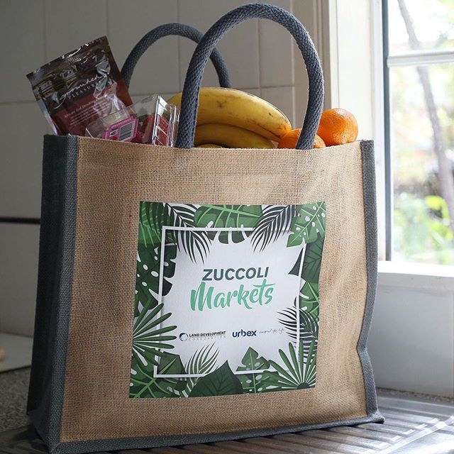 This handy jute bag with direct digital print was sourced and branded for Urbex's new Zuccoli Markets at their residential village in Darwin. Custom-made merchandise like this is a great way to promote your business in a practical, effortless way.