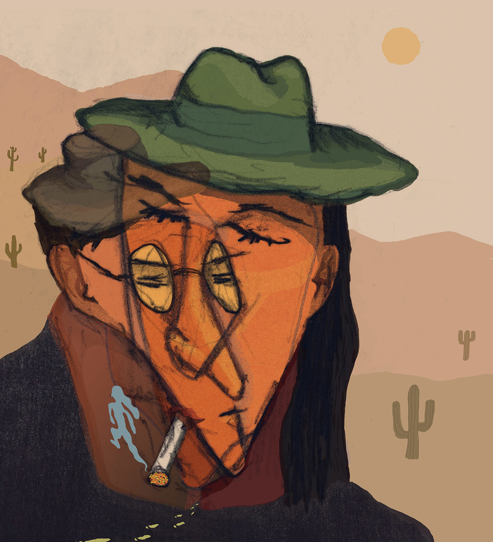 "Illustration for a book review of ""The Savage Detectives"" by Roberto Bolano; a novel about two Mexican poets searching for a legendary poetess in the desert"
