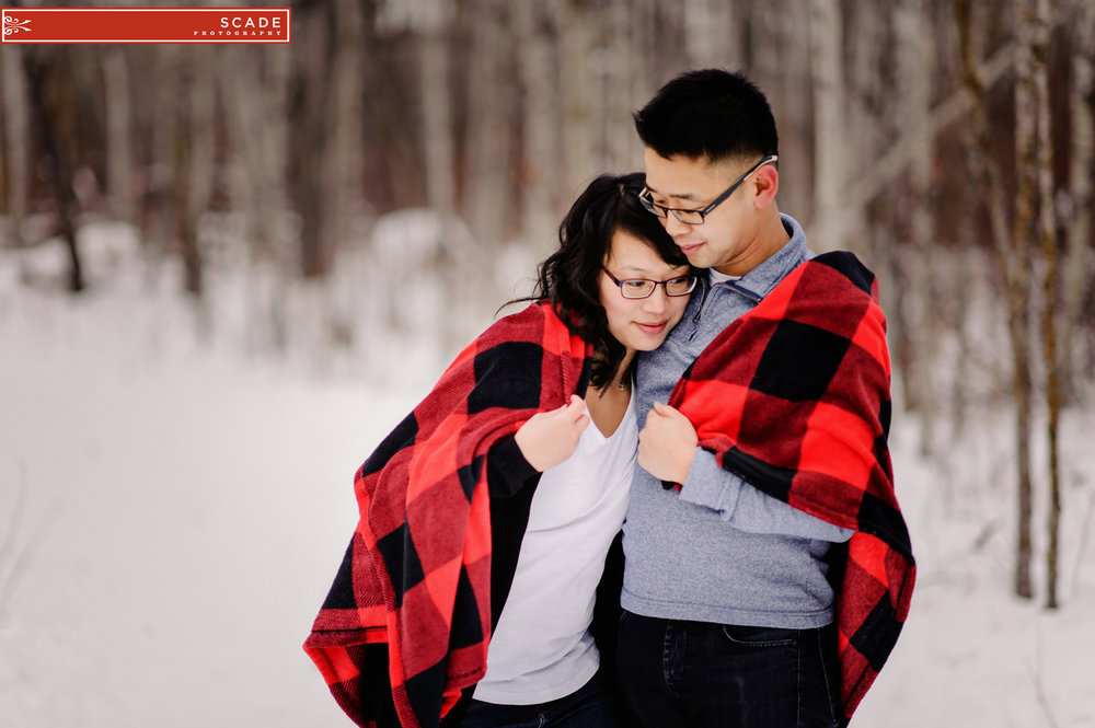 Cozy Winter Engagement Photography edmonton