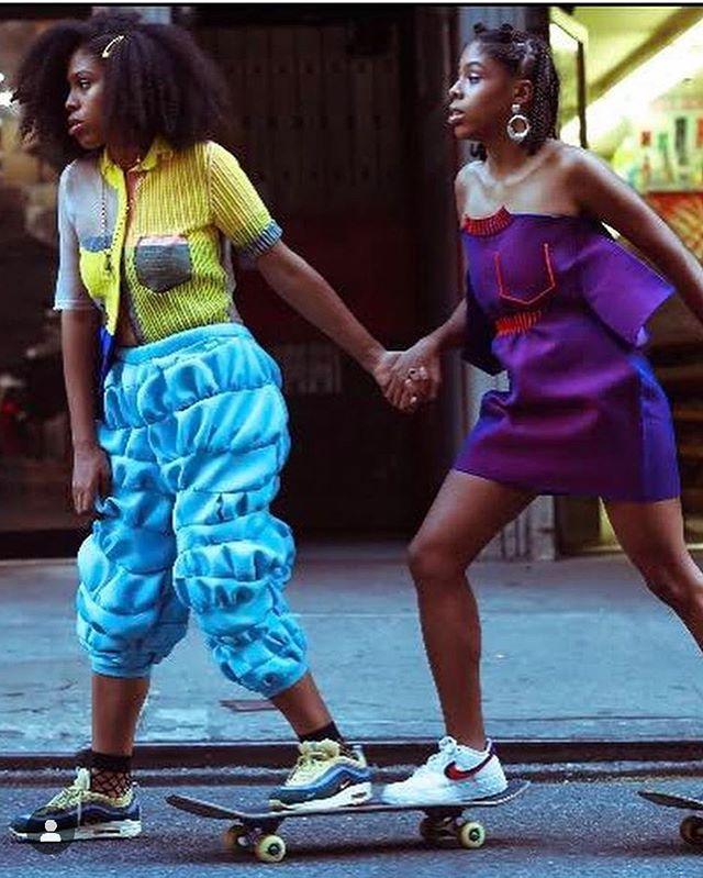 💙💛💜 Twins Photo: @sycroix  Fashion: @sydneyloew & @zoechampionknitwear  Style: @mothermelanin_