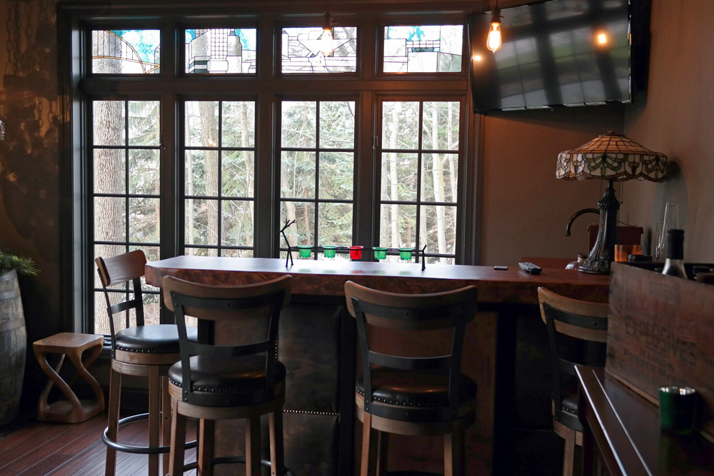 Home Bar: Sunroom turned into a beautiful new space with new flooring, custom bar, and stained glass windows. Special thanks to Lisa Minetti from Peabody's Interiors, and Cobalt Glassworks. Watch video.