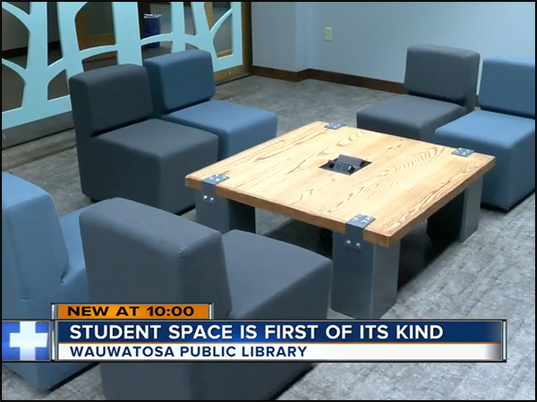 Library tables get attention at opening of new commons   Gear Grove is proud to have created two tables for the new Student Commons area at the Wauwatosa, WI, Public Library. It was a great project to work on, and our creations even made the TV news.  Watch now .