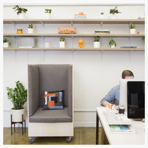 This Dani Lounge at Day One Agency provides a comfy, cool and movable place to work away from desks!
