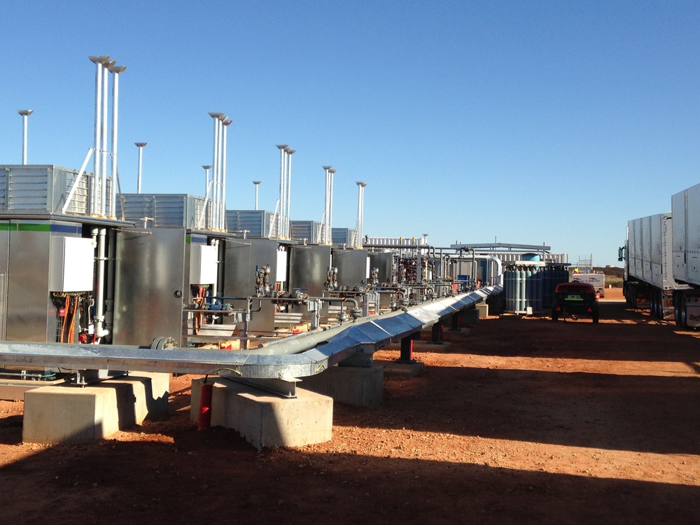 Port Hedland mother station site - completed compressors, pipework and cable tray