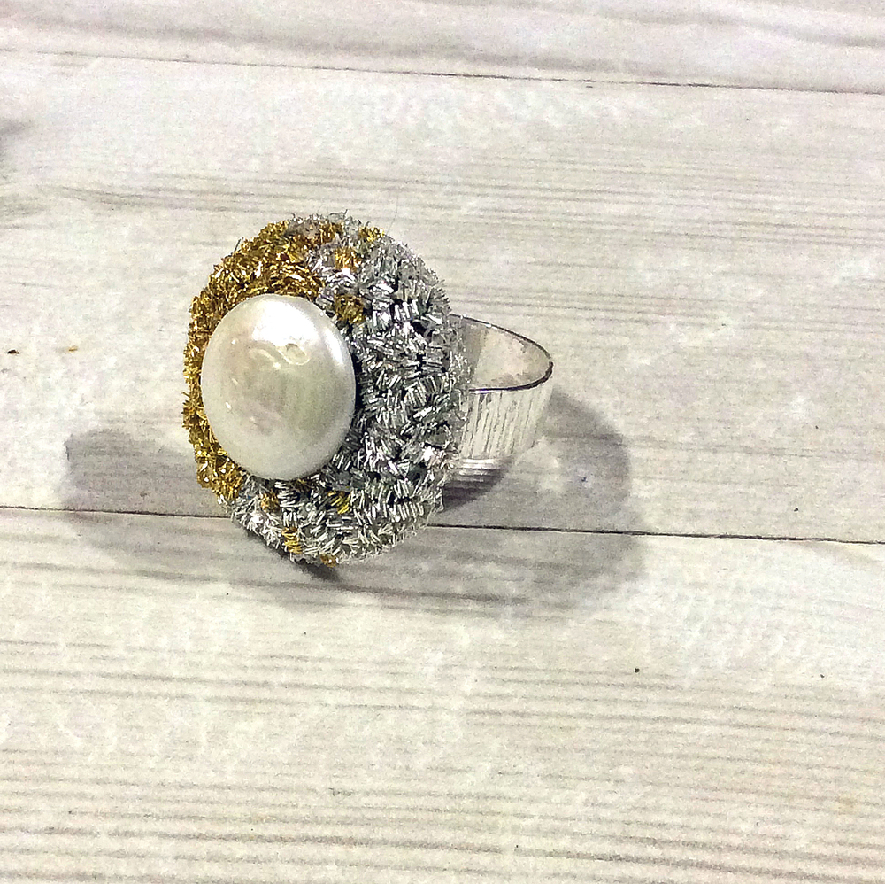 Freshwater pearl and Goldwork Solid Silver Ring ©Harriet Frances Stiles 2015