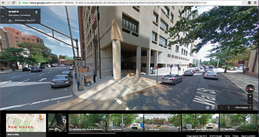 Detail of downtown New Haven via Google Maps.  Screen Capture: Photo Credit   Google Maps.
