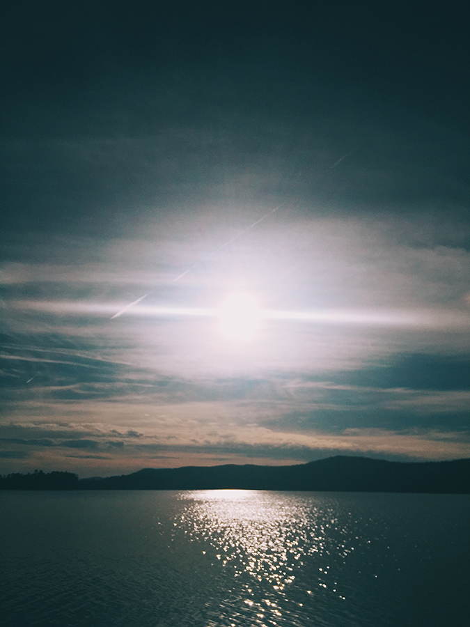 The sun setting over Lake George, seen from The Sagamore