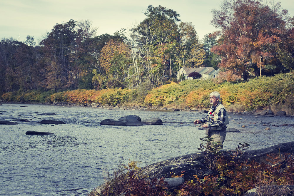 Fly fishing, Deerfield River, Charlemont, Ma