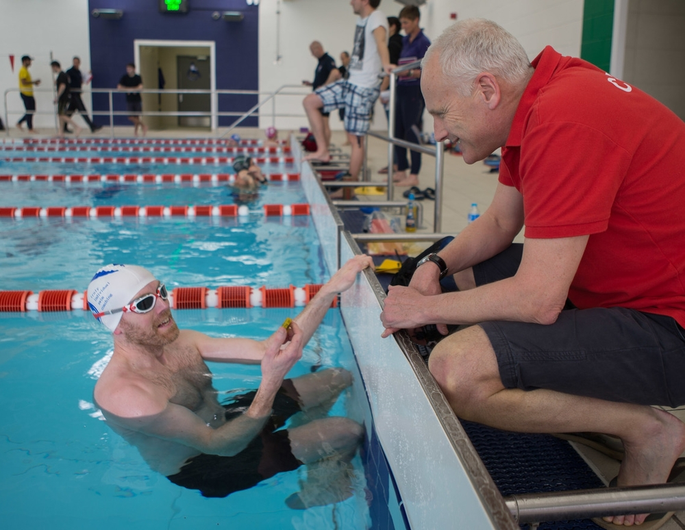 At the Swimmers Clinic, I attempt an impersonation of an expert in the use of Tempo Trainers