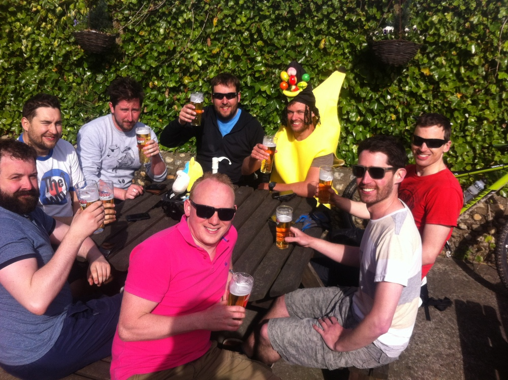 Clockwise from far left: Shane, Seth, Steve, Tim, Carmen Miranda, Martyn, Nadav and Jack with the first of their beers.