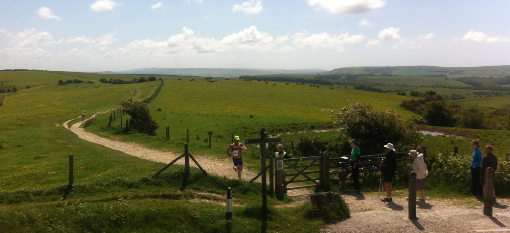 Graham finishing the tough climb up from Housedean Farm to Ditchling Beacon