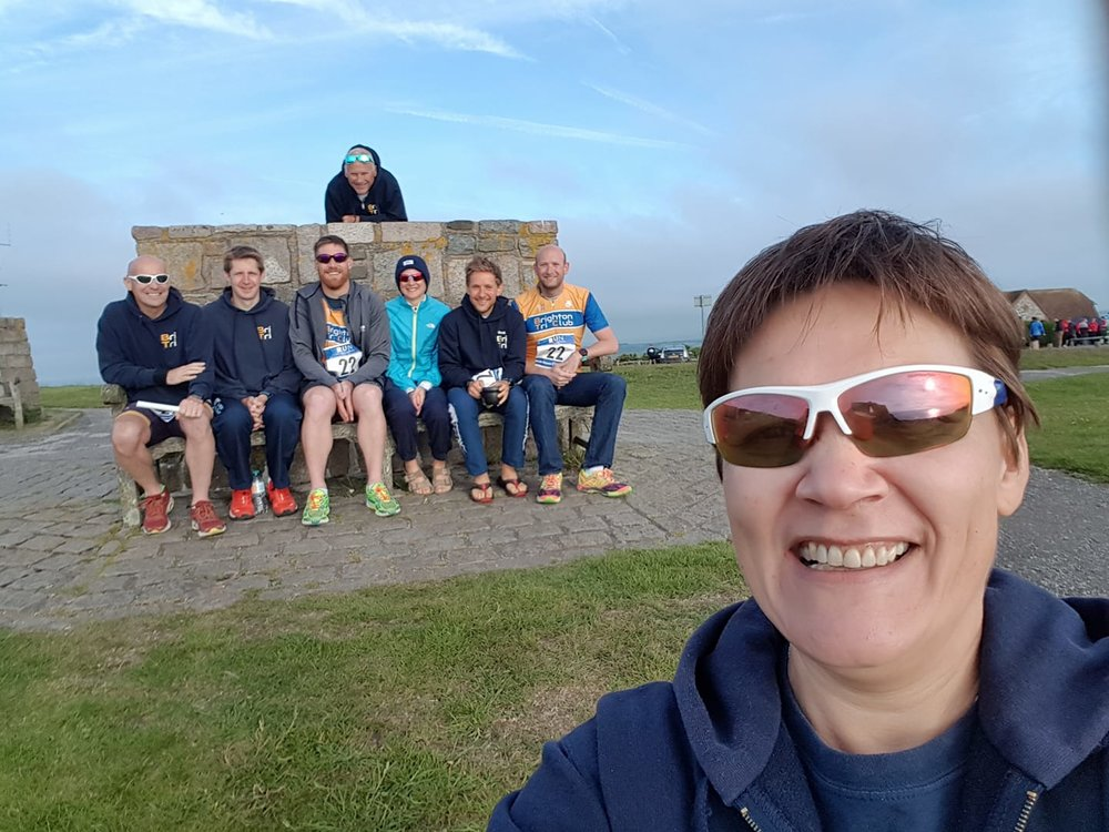 Team Manager Sally and her team at Beachy Head - only 100 miles to the finish