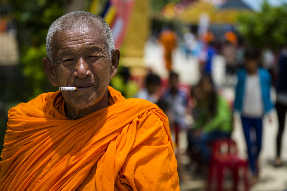 The smoking monk. Somewhere near Chau Doc. Vietnam.