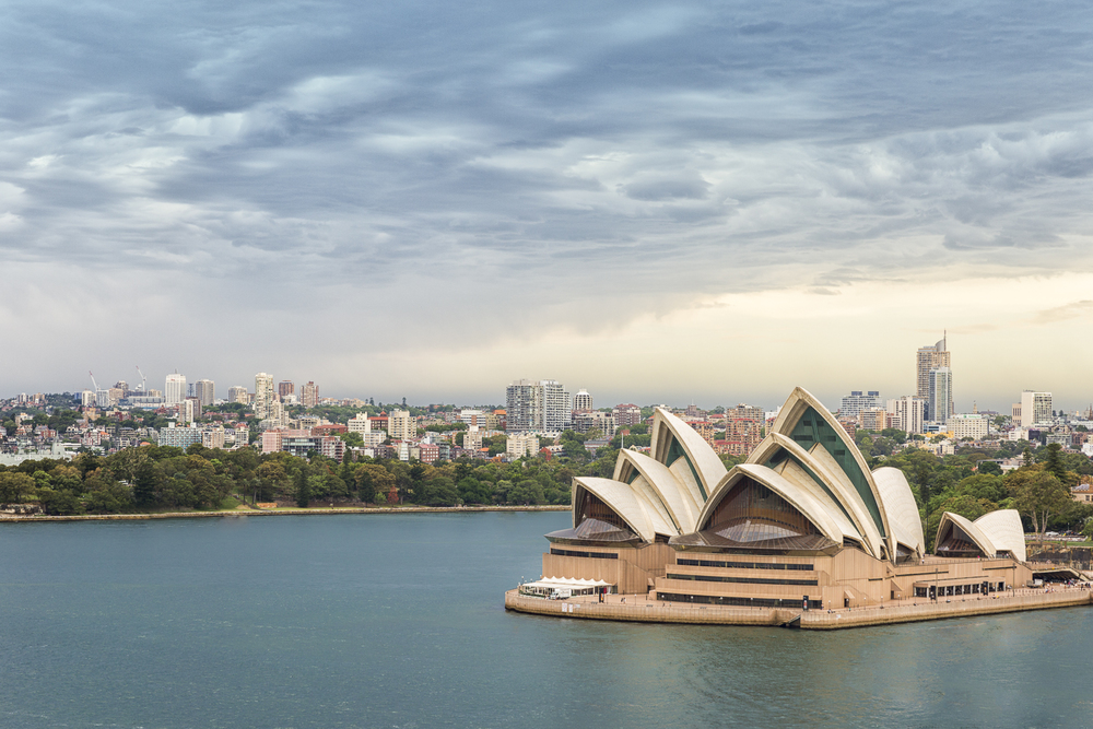 The iconic Sydney Opera House from the deck of the Sydney Harbour Bridge.