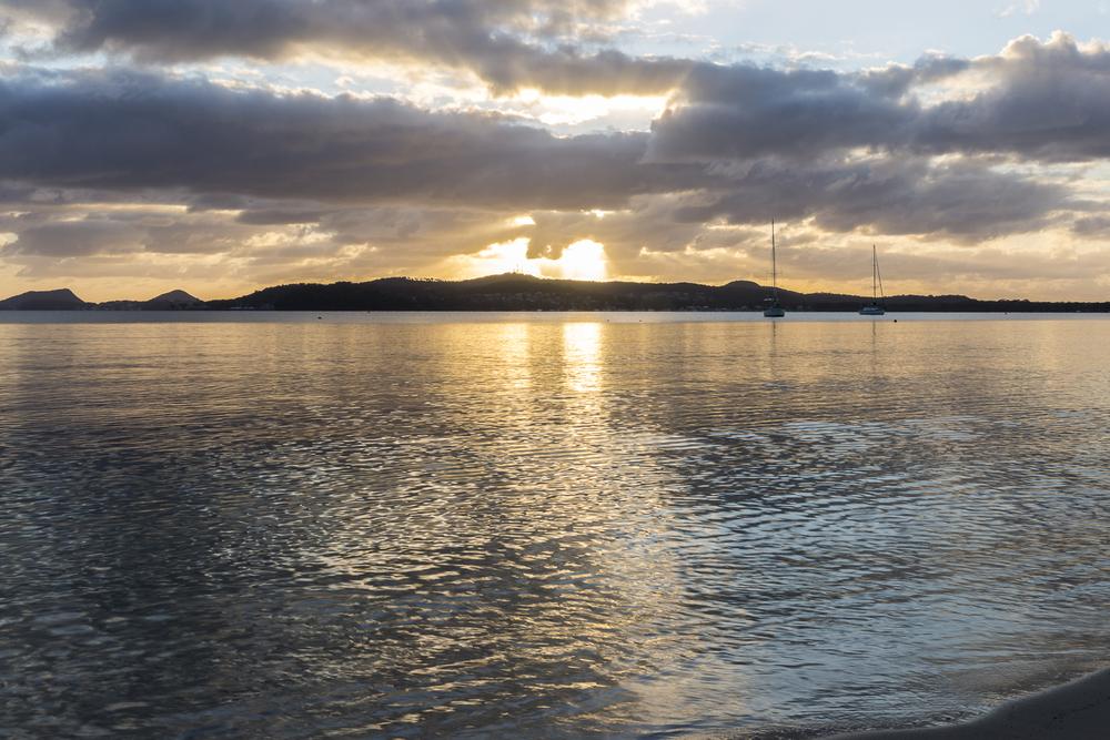 On Golden Pond. Sunrise over Salamander Bay, Port Stephens, Australia.