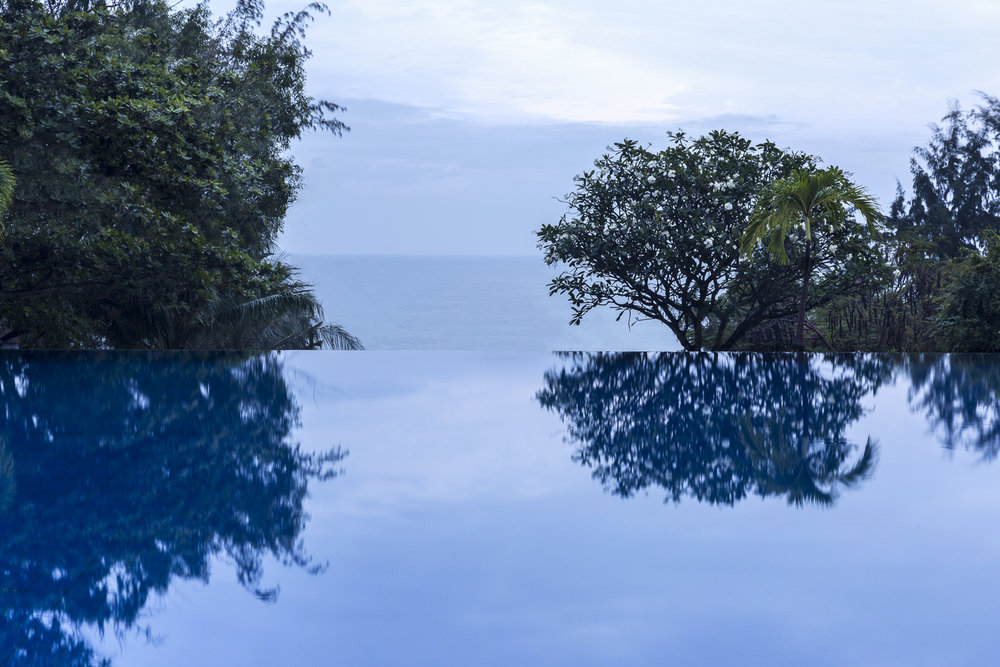 Reflecting on the Infinity Pool.