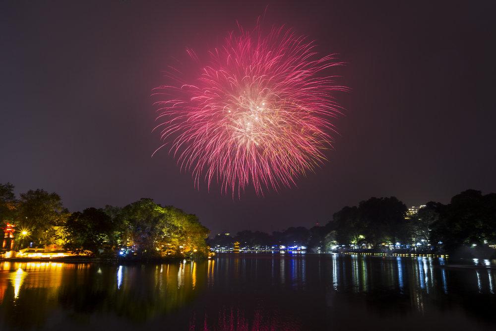 Tet fireworks over Hoan Kiem Lake, Hanoi.