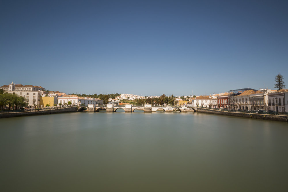 The Gilao River and Roman Bridge. Tavira, Portugal.