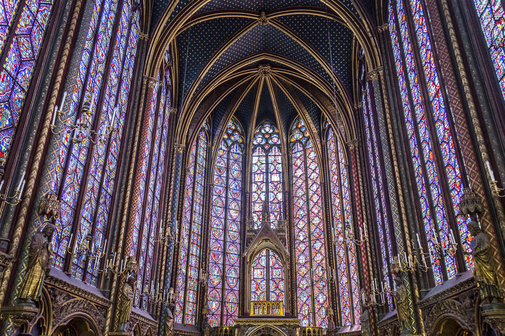 Part of the magnificent interior of Sainte Chapelle Church.
